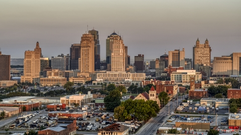 DXP001_040_0001 - Aerial stock photo of The city skyline at sunrise, Downtown Kansas City, Missouri