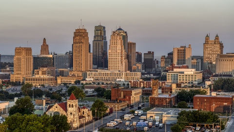 DXP001_040_0003 - Aerial stock photo of A view of the city skyline at sunrise, Downtown Kansas City, Missouri