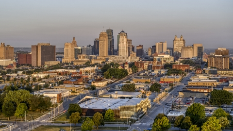 DXP001_040_0004 - Aerial stock photo of The city skyline at sunrise, seen from east of the city, Downtown Kansas City, Missouri
