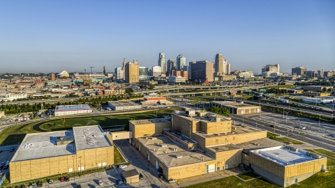 DXP001_041_0003 - Aerial stock photo of A tech school and the city skyline of Downtown Kansas City, Missouri
