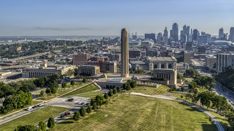 DXP001_043_0003 - Aerial stock photo of The WWI memorial with downtown skyline visible in background, in Kansas City, Missouri