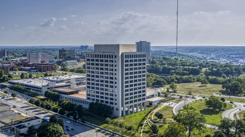 DXP001_044_0009 - Aerial stock photo of A federal office building in Kansas City, Missouri