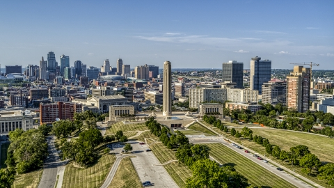 DXP001_044_0013 - Aerial stock photo of A view of the city's downtown skyline, the WWI memorial, and office buildings in Kansas City, Missouri