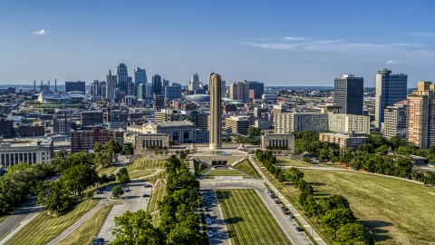 DXP001_044_0014 - Aerial stock photo of The WWI memorial between the Kansas City, Missouri skyline and office buildings