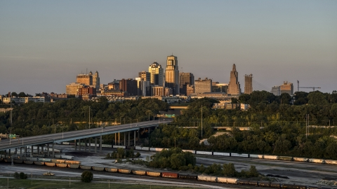 DXP001_046_0001 - Aerial stock photo of The skyline at sunset seen from west of the city, Downtown Kansas City, Missouri