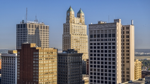 DXP001_048_0001 - Aerial stock photo of Three tall skyscrapers in Downtown Kansas City, Missouri