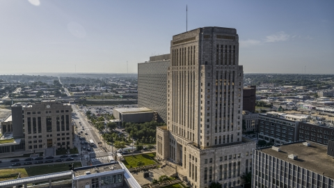 DXP001_048_0004 - Aerial stock photo of A tall courthouse building in Downtown Kansas City, Missouri