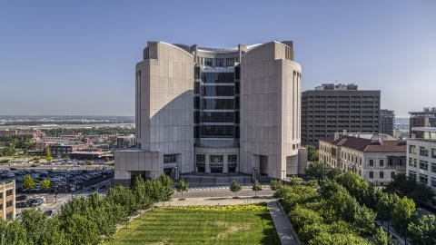 DXP001_049_0003 - Aerial stock photo of Federal courthouse seen from a park in Downtown Kansas City, Missouri