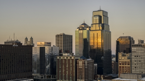 DXP001_051_0003 - Aerial stock photo of City skyscrapers at sunset in Downtown Kansas City, Missouri