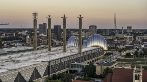DXP001_051_0004 - Aerial stock photo of Top the convention center and concert hall at sunset in Downtown Kansas City, Missouri