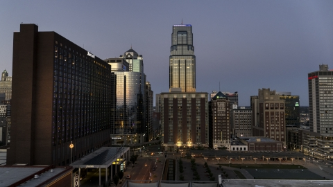 DXP001_051_0022 - Aerial stock photo of Skyscrapers seen from the Marriott Hotel at twilight in Downtown Kansas City, Missouri