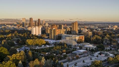 DXP001_052_0001 - Aerial stock photo of Apartment buildings at sunrise in Denver, Colorado