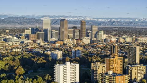 DXP001_052_0005 - Aerial stock photo of The city skyline of Downtown Denver, Colorado at sunrise