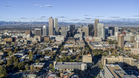 DXP001_052_0007 - Aerial stock photo of A view of skyscrapers in Downtown Denver, Colorado