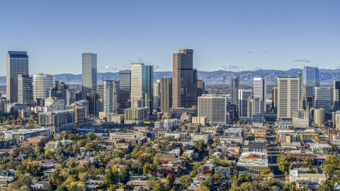 DXP001_053_0002 - Aerial stock photo of A view of the city's skyline in Downtown Denver, Colorado