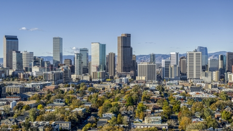 DXP001_053_0003 - Aerial stock photo of A view of skyscrapers in skyline of Downtown Denver, Colorado