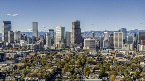 DXP001_053_0004 - Aerial stock photo of Skyscrapers in Downtown Denver, Colorado skyline