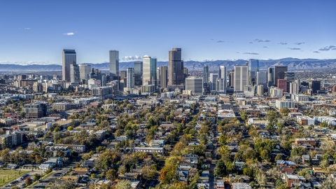 DXP001_053_0005 - Aerial stock photo of A wide view of the skyline of Downtown Denver, Colorado