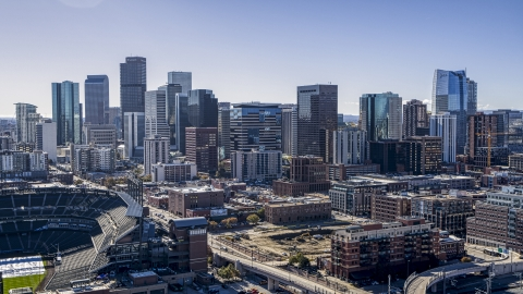 DXP001_054_0001 - Aerial stock photo of The tall skyscrapers of the Downtown Denver, Colorado skyline