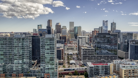 DXP001_055_0003 - Aerial stock photo of Office buildings with view of skyline in Downtown Denver, Colorado