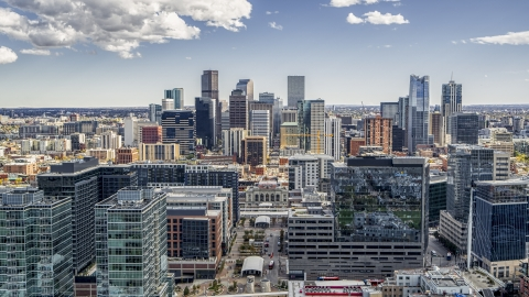 DXP001_055_0004 - Aerial stock photo of The city's skyline behind office buildings in Downtown Denver, Colorado
