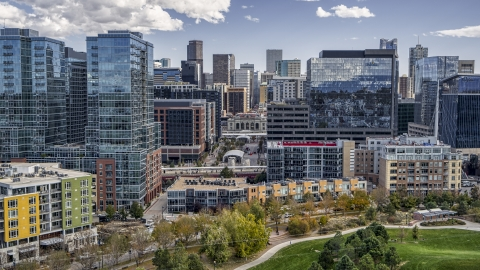 DXP001_055_0005 - Aerial stock photo of Downtown office buildings with skyscrapers in the background in Downtown Denver, Colorado