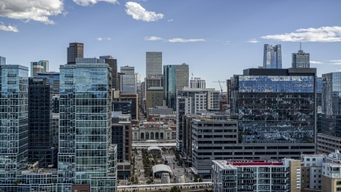DXP001_055_0008 - Aerial stock photo of Office buildings with view of skyscrapers in Downtown Denver, Colorado