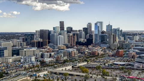 DXP001_055_0010 - Aerial stock photo of A view of the skyline in Downtown Denver, Colorado