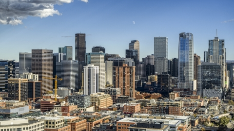 DXP001_055_0013 - Aerial stock photo of Towering skyscrapers of the city skyline in Downtown Denver, Colorado
