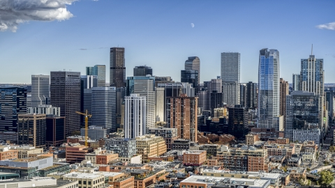 DXP001_055_0015 - Aerial stock photo of The city's downtown skyline in Downtown Denver, Colorado