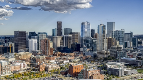 DXP001_055_0017 - Aerial stock photo of A view of the tall towers of the city skyline in Downtown Denver, Colorado