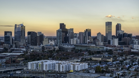 DXP001_056_0008 - Aerial stock photo of The city's skyline at sunset, Downtown Denver, Colorado