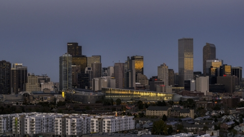 DXP001_057_0003 - Aerial stock photo of The city's downtown skyscrapers by convention center at twilight, Downtown Denver, Colorado