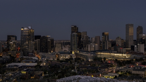 DXP001_057_0004 - Aerial stock photo of The city's towering skyscrapers and convention center at twilight, Downtown Denver, Colorado