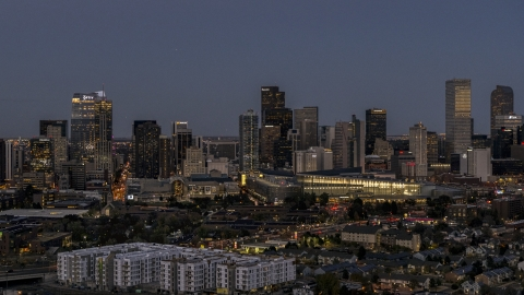 DXP001_057_0005 - Aerial stock photo of The city's skyline and convention center at twilight, Downtown Denver, Colorado