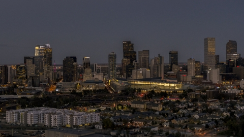 DXP001_057_0006 - Aerial stock photo of The convention center and city skyline at twilight, Downtown Denver, Colorado