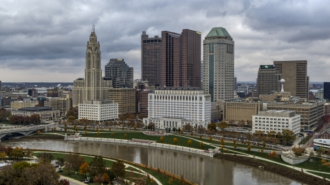 DXP001_087_0001 - Aerial stock photo of The city's skyline across the Scioto River, Downtown Columbus, Ohio