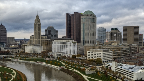 DXP001_087_0002 - Aerial stock photo of The city skyline by the Scioto River, Downtown Columbus, Ohio