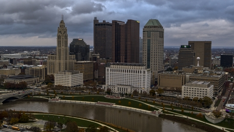 DXP001_087_0004 - Aerial stock photo of The city's skyline by the Scioto River, Downtown Columbus, Ohio