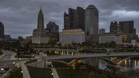 DXP001_087_0006 - Aerial stock photo of The city skyline and the Scioto River at twilight, Downtown Columbus, Ohio