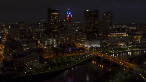 DXP001_088_0012 - Aerial stock photo of The city skyline at night, Downtown Columbus, Ohio