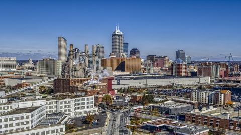 DXP001_089_0001 - Aerial stock photo of The city skyline and brick factory in Downtown Indianapolis, Indiana