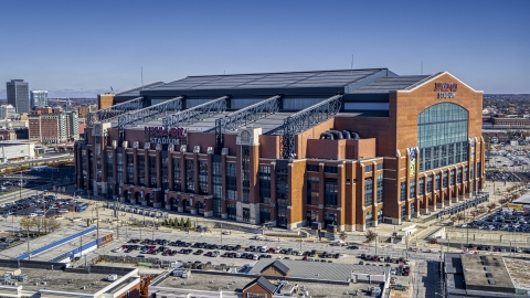 DXP001_089_0005 - Aerial stock photo of The side of the Lucas Oil football stadium in Indianapolis, Indiana