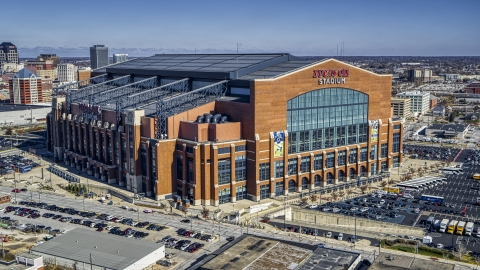 DXP001_089_0007 - Aerial stock photo of Lucas Oil Stadium in Indianapolis, Indiana