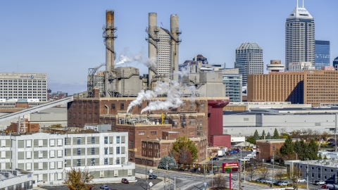 DXP001_089_0010 - Aerial stock photo of A brick factory with smoke stacks in Indianapolis, Indiana