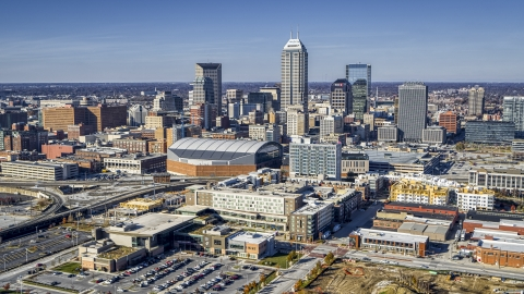 DXP001_090_0002 - Aerial stock photo of Arena and the city's skyline in Downtown Indianapolis, Indiana