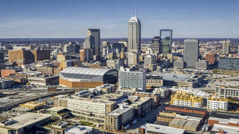 DXP001_090_0003 - Aerial stock photo of The arena and the city's skyline in Downtown Indianapolis, Indiana
