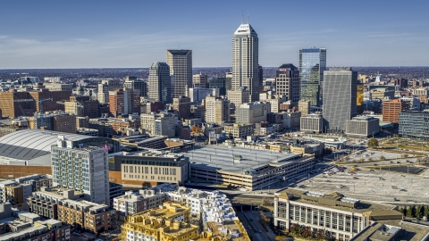 DXP001_090_0004 - Aerial stock photo of Focusing on the city's skyline in Downtown Indianapolis, Indiana