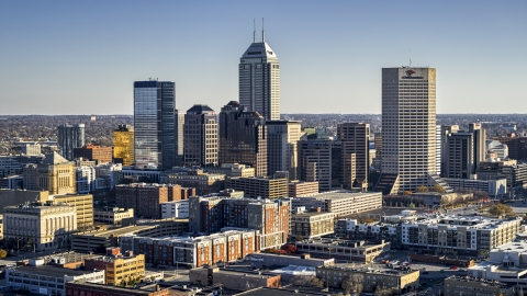 DXP001_091_0002 - Aerial stock photo of Salesforce Tower skyscraper and skyline of Downtown Indianapolis, Indiana