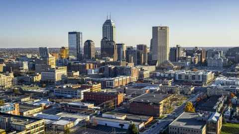 DXP001_091_0007 - Aerial stock photo of Wide view of the skyline's tall skyscrapers in Downtown Indianapolis, Indiana